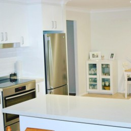 New open plan kitchen - light colour scheme