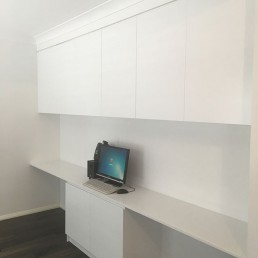 custom office desk and storage cupboard for home office